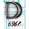 6961 застёжка-перетяжка двойное полукольцо тём.никель