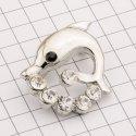 10890 ( YN00686 ) брошь в виде дельфина никель + камень