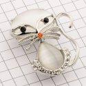 10892 ( YN00634 ) брошь в виде кошки никель + камень