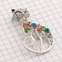 10896 ( YN00687 ) брошь (кошка) никель + разноцветные камни